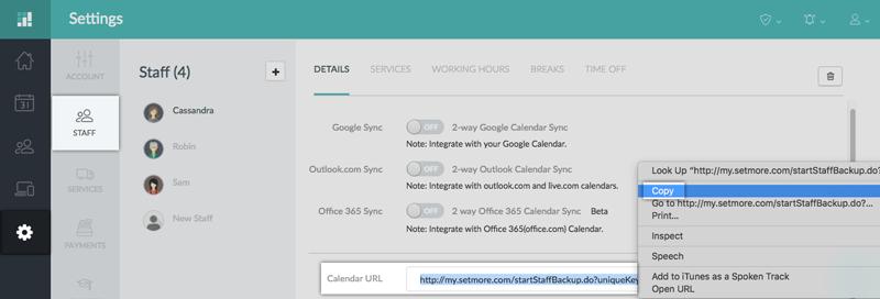 Copying the Setmore Staff Calendar URL under Settings > Staff