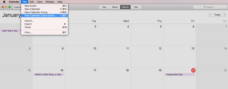 Choosing the New Calendar Subscription on the MacOS calendar
