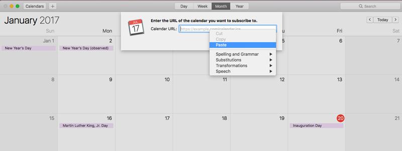 Pasting the Setmore Staff Calendar URL