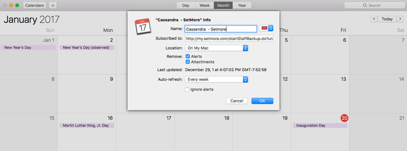 Verifying the calendar settings