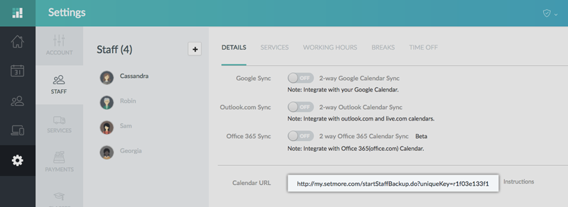 The Setmore Staff Calendar URL