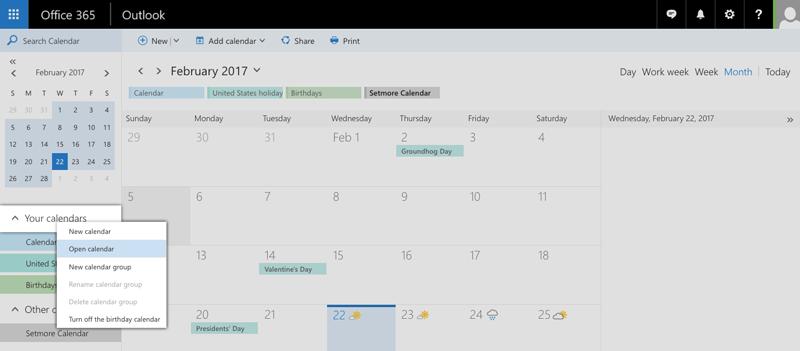 Choosing Open Calendar under Your Calendars